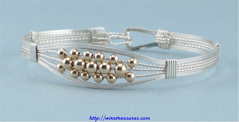 Silver Bangle Bracelet with Gold Beads