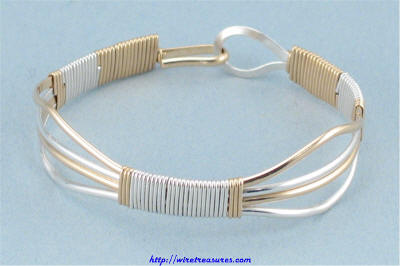 Two-Tone Wire Bangle Bracelet