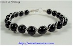 Onyx Many-Bead Bangle Bracelet
