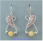 Yellow Jade and Freshwater Pearls Earrings