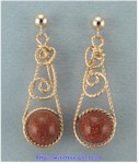 Single Loop Goldstone Bead Earrings