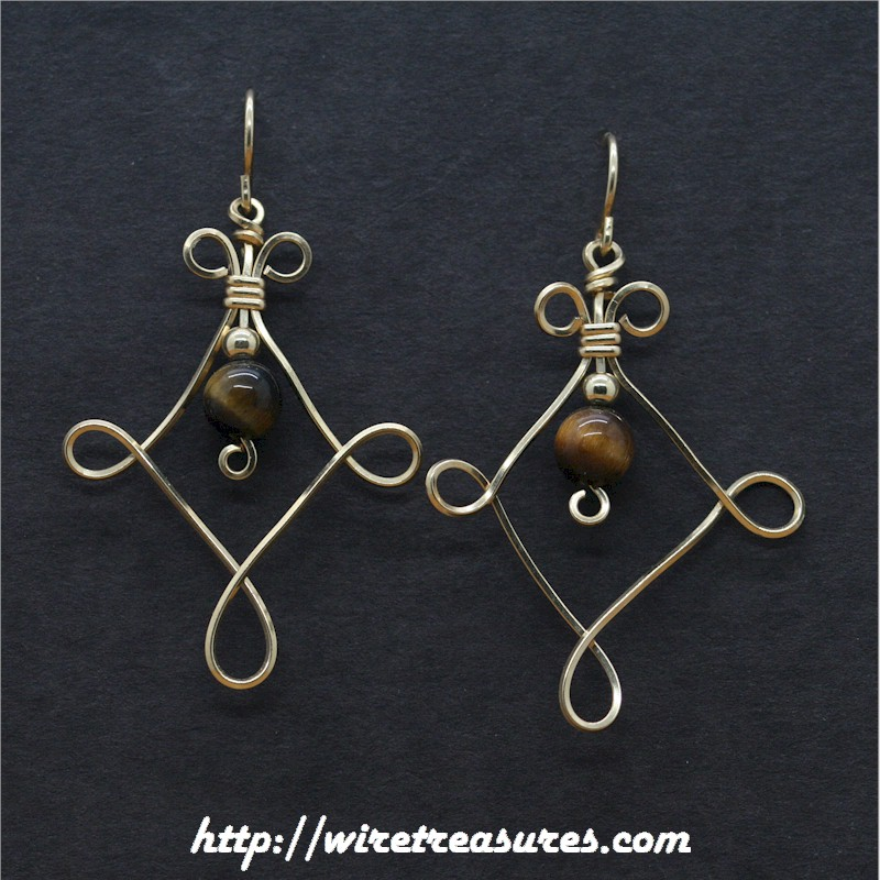Twisted Square Earrings with Tigereye Jasper Beads