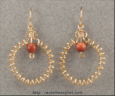 Curly Wire Earrings with Goldstone Beads