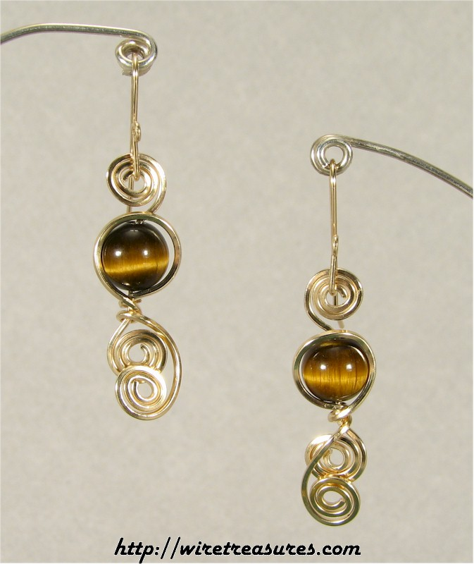 Tigereye Jasper Curly-Q Earrings
