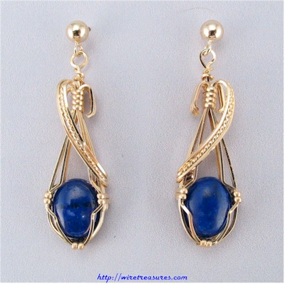 Lapis Cabochon Earrings