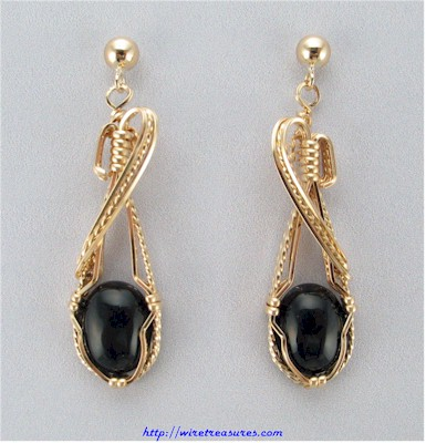 Onyx Cabochon Earrings