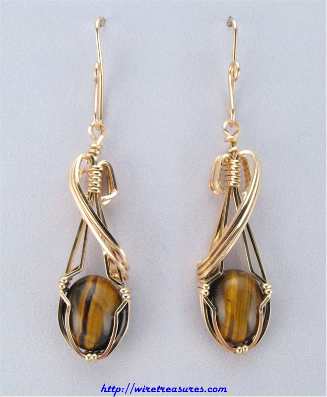 Tiger Eye Cabochon Earrings