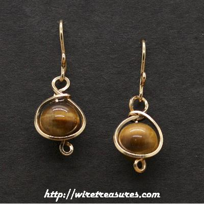 Tigereye Jasper Bead  Earrings