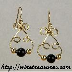 Bunny Earrings with Onyx & Gold Beads