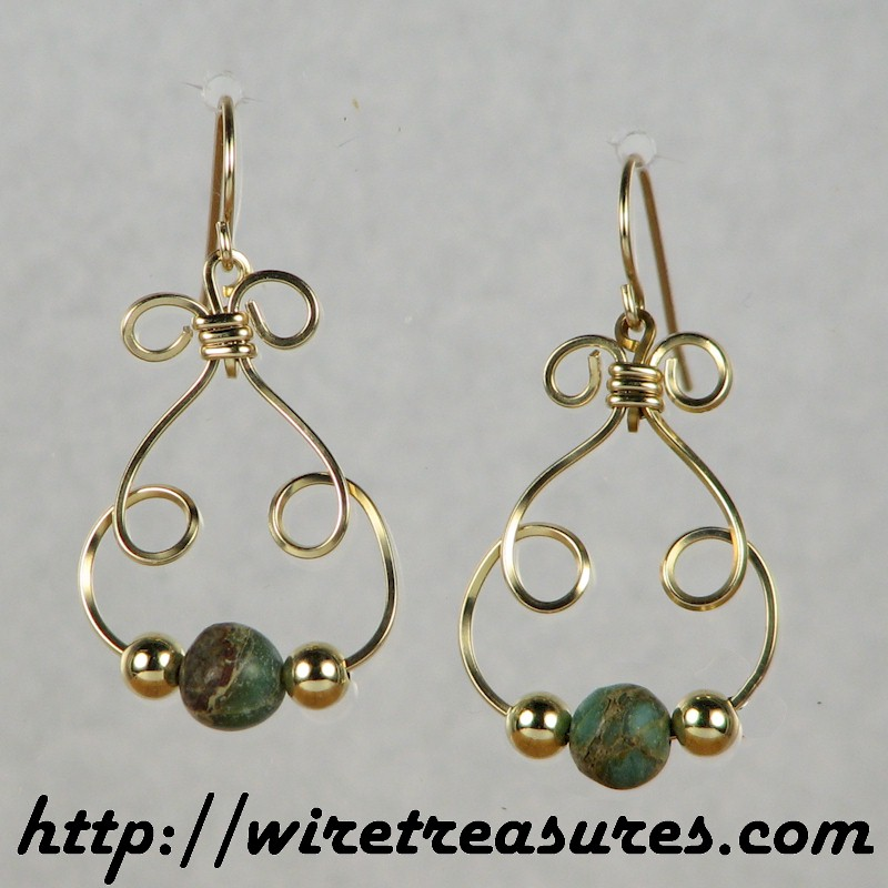 Bunny Earrings with Russian Serpentine & Gold Beads
