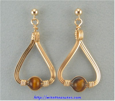 Tiger Eye Triangle Earrings