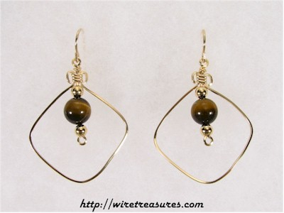 "Tigereye Jasper ""Bead-in-a-Box"" Earrings"