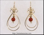 Double Loop Earrings with Carnelian Beads