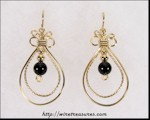 Double Loop Earrings with Black Onyx Beads