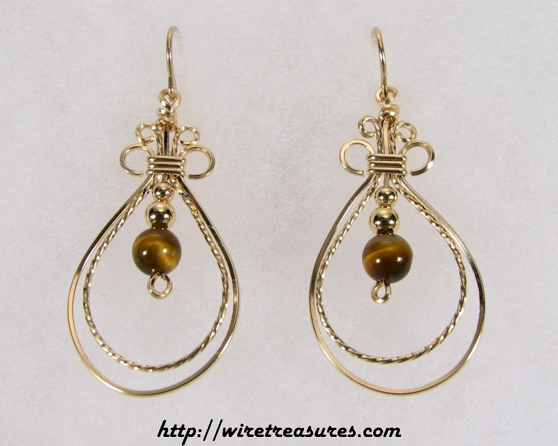 Double Loop Earrings with Tigereye Jasper Beads