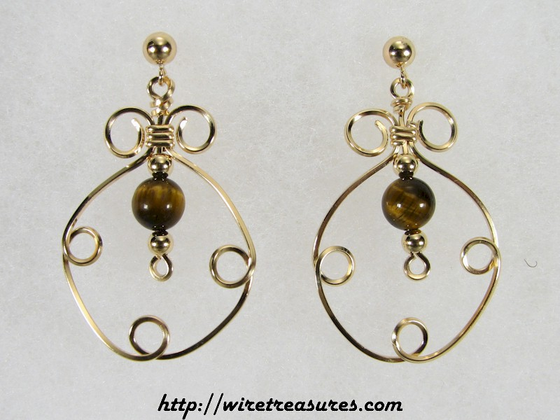 Fancy Box Beaded Earrings with Tiger Eye Beads