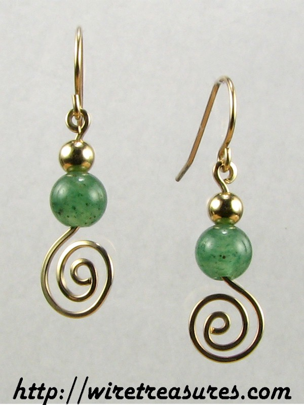 Aventurine & GF Bead Swirled Earrings