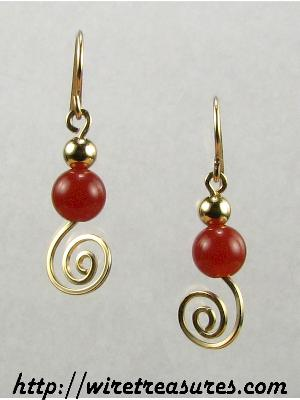 Carnelian & GF Bead Swirled Earrings