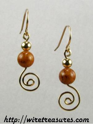 Jasper & GF Bead Swirled Earrings