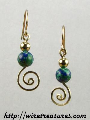 Malachite & Azurite w/GF Bead Swirled Earrings