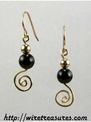 Black Onyx & GF Bead Swirled Earrings
