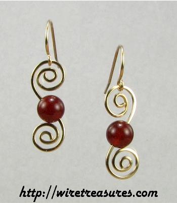 Double Swirl Carnelian Bead Earrings