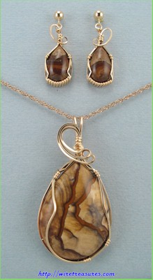 Biggs Canyon Picture Jasper Pendant & Earrings Set