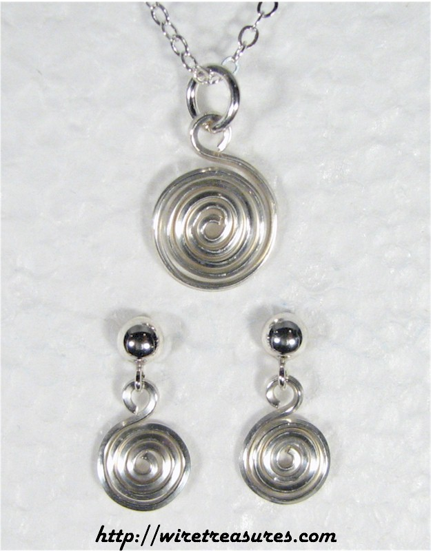 Curly Sterling Silver Wire Pendant & Earrings Set