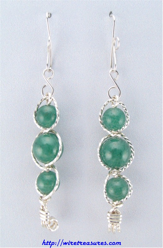 Aventurine Three-Bead Earrings