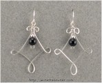 Twisted Square Earrings with Onyx Beads