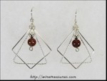 Geometric Earrings with Poppy Jasper Beads