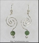 Hammered Whirlpool Earrings with Aventurine Beads