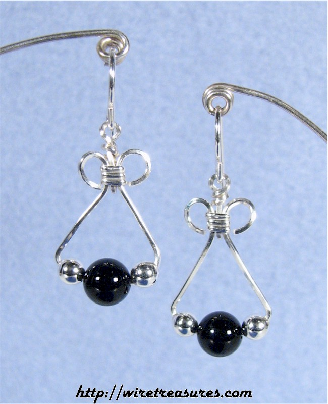 Black Onyx & Silver Triple-Bead Earrings