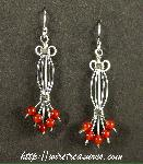 Fancy Earrings with Carnelian Beads