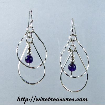 Echo Earrings with Amethyst Beads