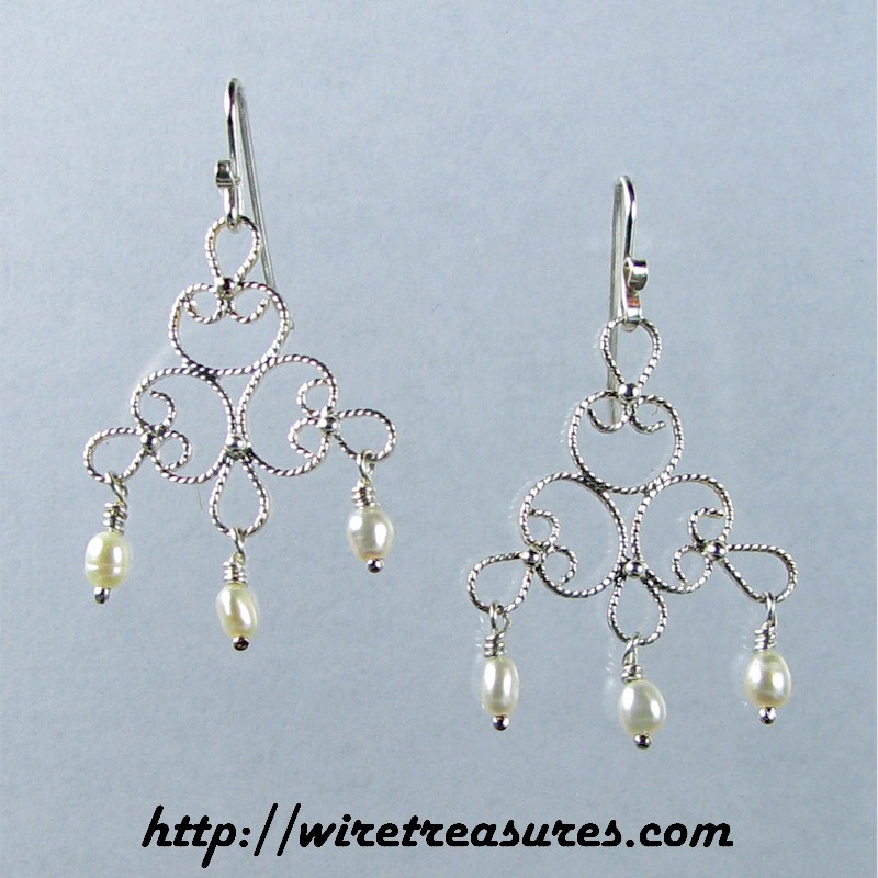 Filigree Earrings with Pearls
