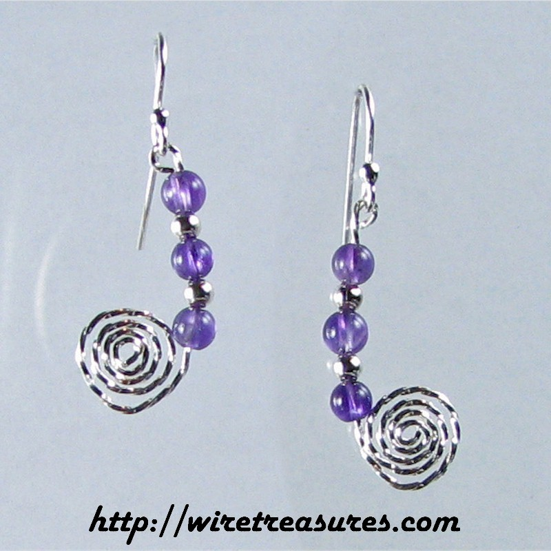 Beaded Snail Earrings with Amethyst Beads
