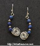 Beaded Snail Earrings with Lapis Beads