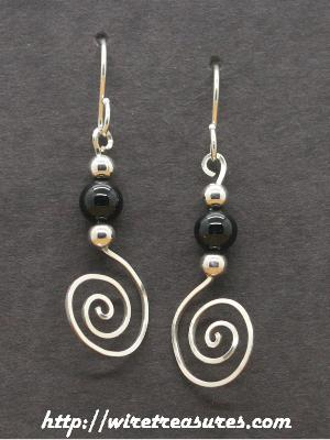 Onyx Beads-On-Swirls Earrings