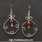 Fancy Box Beaded Earrings with Red Jasper Beads