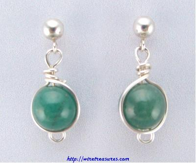 Aventurine Bead Ball Post Earrings