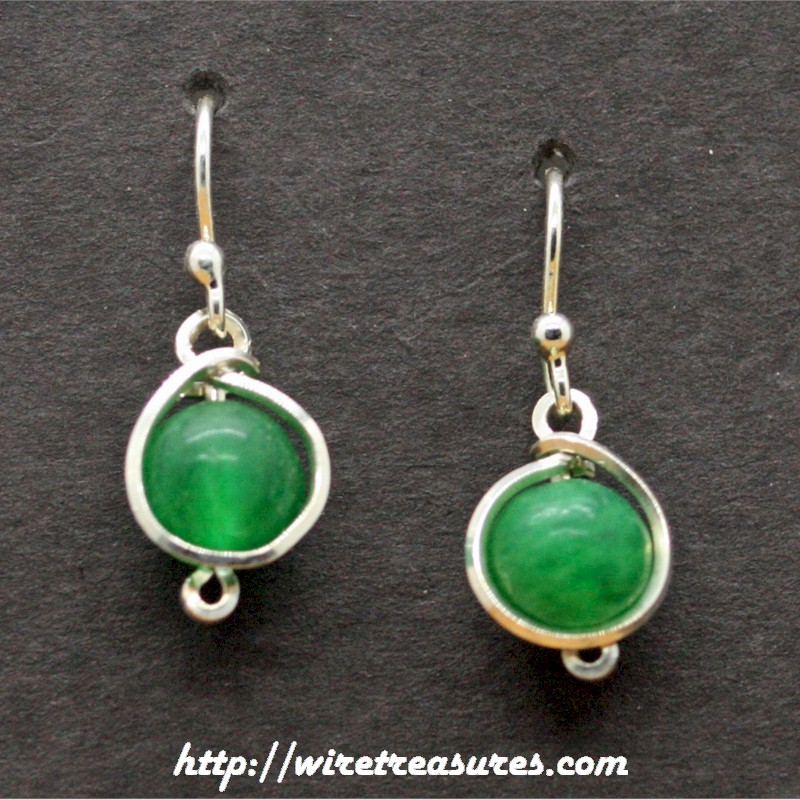 Aventurine Bead Twisted Wire Ball Post Earrings