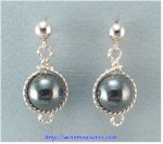 Hematite Bead Twisted Wire Ball Post Earrings
