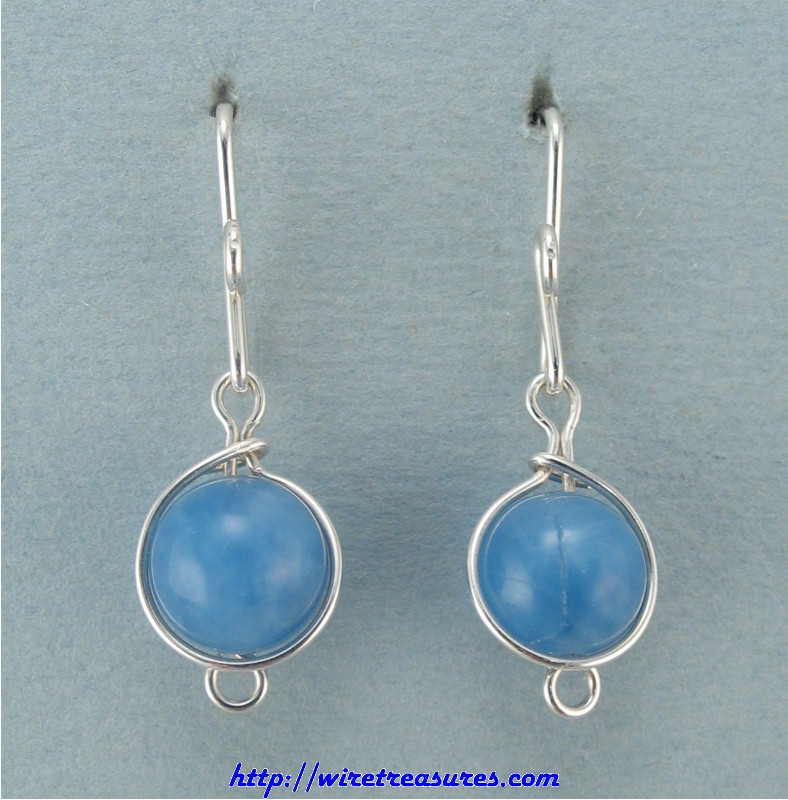 Blue Howlite Bead French Wire Earrings