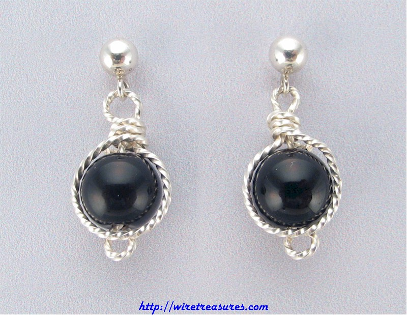 Onyx Bead Twisted Wire Ball Post Earrings
