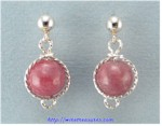 Rhodonite Bead Twisted Wire Ball Post Earrings