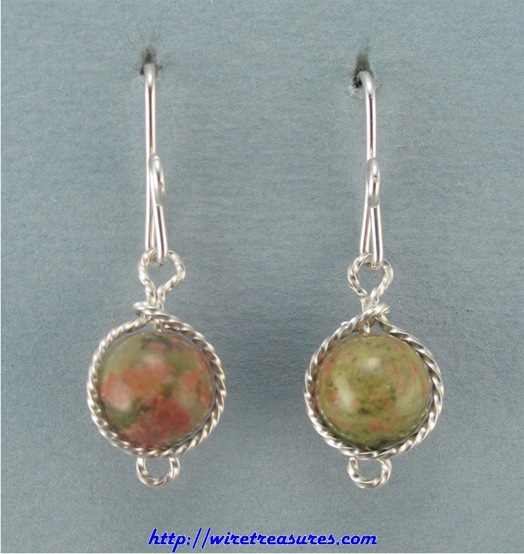 Unakite Bead French Wire Earrings