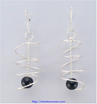 Onyx Bead Spiral Earrings