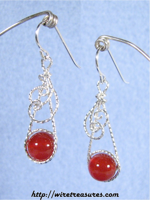 Swirly Carnelian Bead Earrings