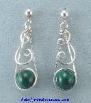 Swirly Malachite Bead Earrings
